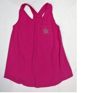 Star Sequined Pink Tank Top Shirt Size L 10/12